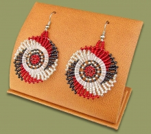 Small Circle Earrings Red Black Silver