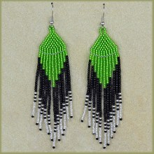 African Beaded Earrings Tala Green Black Silver