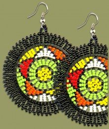 Large Circle Earrings Black