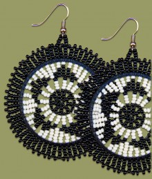 Large Circle Earrings Black & White