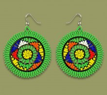 African Beaded Earrings Large Circle Green
