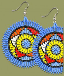 Large Circle Earrings Light Blue