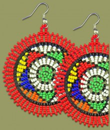 Large Circle Earrings Red