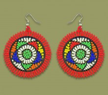 African Beaded Earrings Large Circle Red