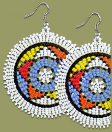 Large Circle Earrings White