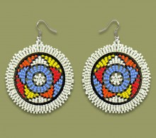 African Beaded Earrings Large Circle White