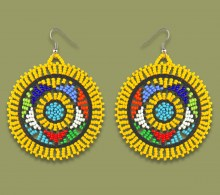 African Beaded Earrings Large Circle Yellow