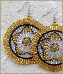 African Beaded Earrings Large Circle Black Gold Silver