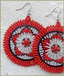 African Beaded Earrings Large Circle Black Red Silver