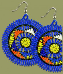 Large Circle Earrings Dark Blue