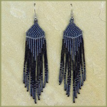 African Beaded Earrings Tala Black Metallic Grey