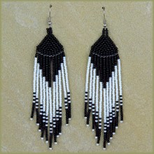 African Beaded Earrings Tala Black White
