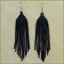 African Beaded Earrings Tala Black