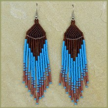 African Beaded Earrings Tala Aqua Copper Chocolate