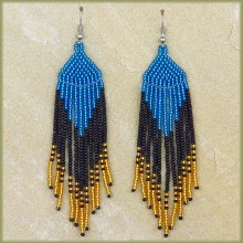African Beaded Earrings Tala Blue Gold Black