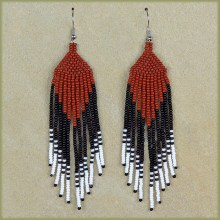 African Beaded Earrings Tala Brown Black White