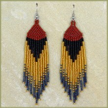 African Beaded Earrings Tala Brown Black Gold Metallic Grey