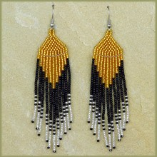 African Beaded Earrings Tala Gold Silver Black