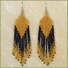 African Beaded Earrings Tala Gold Black