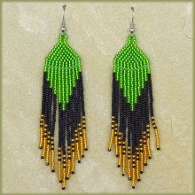 African Beaded Earrings Tala Green Black Gold