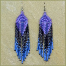 African Beaded Earrings Tala Lilac Blue Metallic