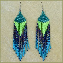 African Beaded Earrings Tala Lime Navy Blue Jade