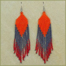 African Beaded Earrings Tala Red Orange Metallic Grey