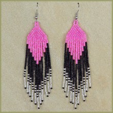 African Beaded Earrings Tala Pink Black Silver