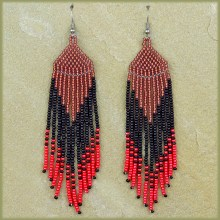 African Beaded Earrings Tala Pink Copper Black