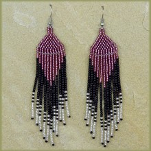 African Beaded Earrings Tala Purple Silver Black