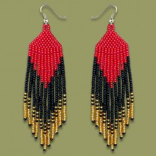 African Beaded Earrings Tala Red Gold Black