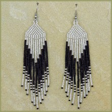 African Beaded Earrings Tala Silver Black