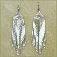 African Beaded Earrings Tala Silver White