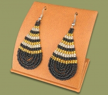 Large Beaded Ear Rings Tear Drop Black Gold Silver