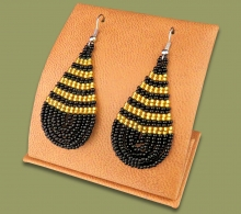 Large Beaded Ear Rings Tear Drop Black Gold