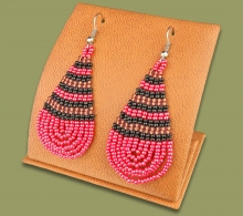 Large Beaded Ear Rings Tear Drop Pink Copper Black