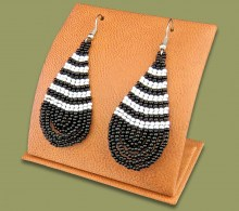 Large Beaded Ear Rings Tear Drop Black White