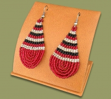 Ear Rings Tear Drop Red Black Silver