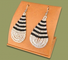 Large Beaded Ear Rings Tear Drop Silver Black