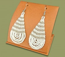 Large Beaded Ear Rings Tear Drop White Silver