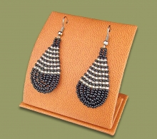 Small Beaded Ear Rings Tear Drop Black Silver