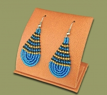 Small Beaded Ear Rings Tear Drop Blue Gold Black