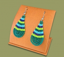 Small Beaded Ear Rings Tear Drop Lime Navy Blue Jade