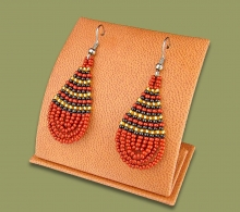 Small Beaded Ear Rings Tear Drop Brown Black Gold