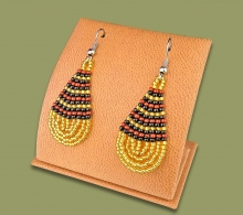 Small Beaded Ear Rings Tear Drop Gold Black Brown