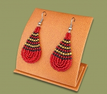 Small Beaded Ear Rings Tear Drop Red Black Gold