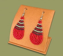 Small Beaded Ear Rings Tear Drop Red Silver Black
