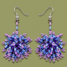 African Beaded Earrings Tswalu Lilac Blue Metallic Grey