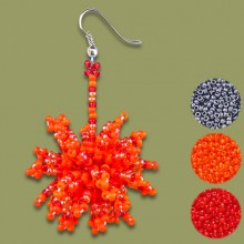 Red Orange Metallic Grey African Beaded Earrings Tswalu