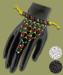 White Black African Beaded Gloves